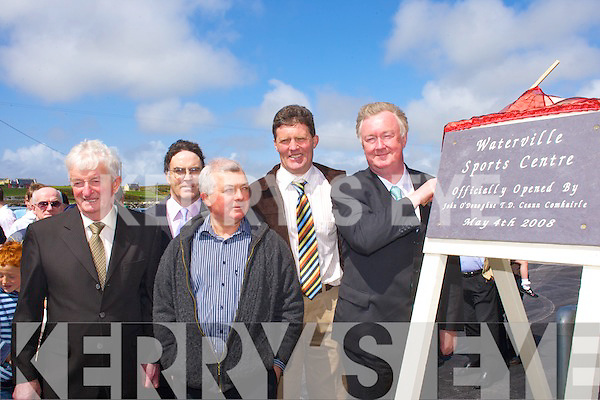 John O'Donoghue unveils the plaque to officially open the new Waterville GAA Sportscentre on Sunday.   Copyright Kerry's Eye 2008