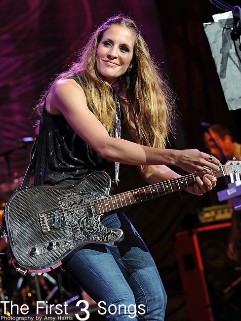 Emily Robison of the country duo Court Yard Hounds performs at Blossom Music Center in Cleveland, Ohio as part of the Lilith Fair on Tuesday July 27, 2010.