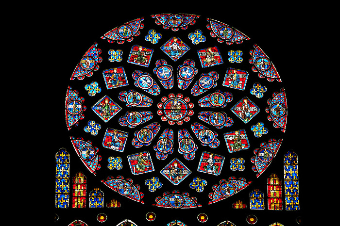 Medieval Rose Window Of The North Transept Gothic Cathedral Chartres France
