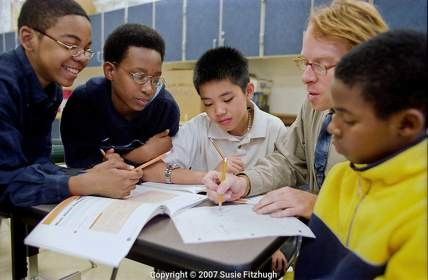 Eighth-graders in Math class, Madrona School, Seattle.