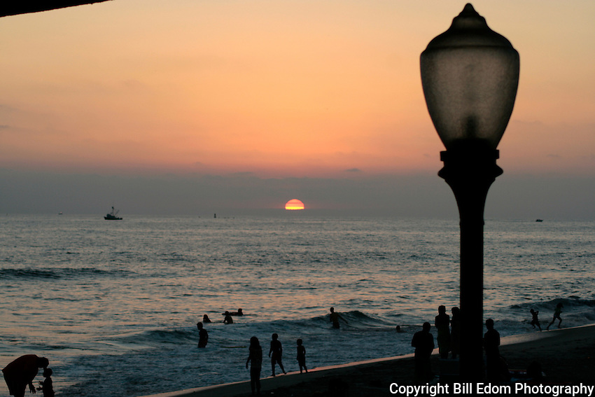 Sunset at the beach in Oceanside, California.