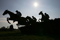The field in jumping action in the Canterbury Horse Rescue Maiden Hurdle