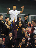 Fans watch the 2014 National Secondary Schools Basketball Championship AA girls' semifinal between New Plymouth Girls' High School and St Peter's College Cambridge at Arena Manawatu, Palmerston North, New Zealand on Friday, 3 October 2014. Photo: Dave Lintott / lintottphoto.co.nz