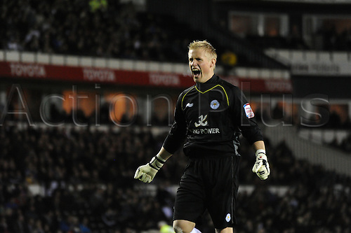 23.02.2012.  Derby, England. Derby County v Leicester City. Kasper Schmeichel (Leicester City) celebrates the first goal during the NPower Championship game played at the Pride Park Stadium. Leicester won the game 0-1.