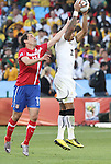 13 JUN 2010: Kevin Prince Boateng (GHA) (23) and Nenad Milijas (SRB) (11) jump for the ball after a whistle from the referee had blown play dead. The Serbia National Team lost 0-1 to the Ghana National Team at Loftus Versfeld Stadium in Tshwane/Pretoria, South Africa in a 2010 FIFA World Cup Group D match.