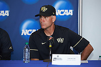 Wake Forest Demon Deacons head coach Tom Walter (16) listens to a question from a reporter following the game against the Florida Gators in Game Three of the Gainesville Super Regional of the 2017 College World Series at Alfred McKethan Stadium at Perry Field on June 12, 2017 in Gainesville, Florida. The Gators defeated the Demon Deacons 3-0 to advance to the College World Series in Omaha, Nebraska. (Brian Westerholt/Four Seam Images)