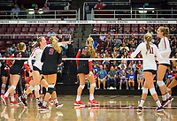 STANFORD, CA - November 4, 2018: Meghan McClure, Morgan Hentz, Kate Formico, Holly Campbell, Kathryn Plummer at Maples Pavilion. No. 2 Stanford Cardinal defeated the Utah Utes 3-0.