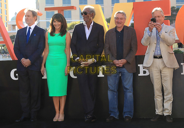 Kevin Kline, Mary Steenburgen, Morgan Freeman, Robert DeNiro, Michael Douglas<br /> &quot;Last Vegas&quot; cast received the key to Vegas at the Bellagio Fountain, Las Vegas, NV, USA, 18th October 2013.<br /> full length green dress suit cast jeans beige brown grey gray blue <br /> CAP/ADM/MJT<br /> &copy; MJT/AdMedia/Capital Pictures