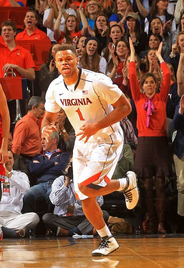 Virginia guard Justin Anderson (1) reacts to a 3-point basket during the game Wednesday Jan. 7, 2015 in Charlottesville, Va.