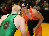 Spencer DeSena and Dave Christopher wrestle at the 215 weight class during the NY State Wrestling Championships at Blue Cross Arena on March 8, 2008 in Rochester, New York.  (Copyright Mike Janes Photography)