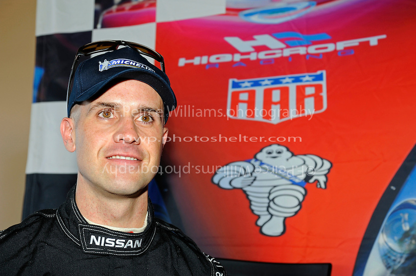 Marino Franchitti, driver of the Highcroft Racing/AAR Nissan powered Delta Wing. The DeltaWing will race for the first time this year as the 56th and experimental entry at the 24 Hours of Le Mans in France. The car, while having normal sized rear tires employs a narrow front track and special Michelin 4 inch wide front tires.