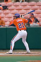Matt Sanders #21 of the Clemson Tigers at bat versus the Wake Forest Demon Deacons at Doug Kingsmore stadium March 13, 2009 in Clemson, SC. (Photo by Brian Westerholt / Four Seam Images)