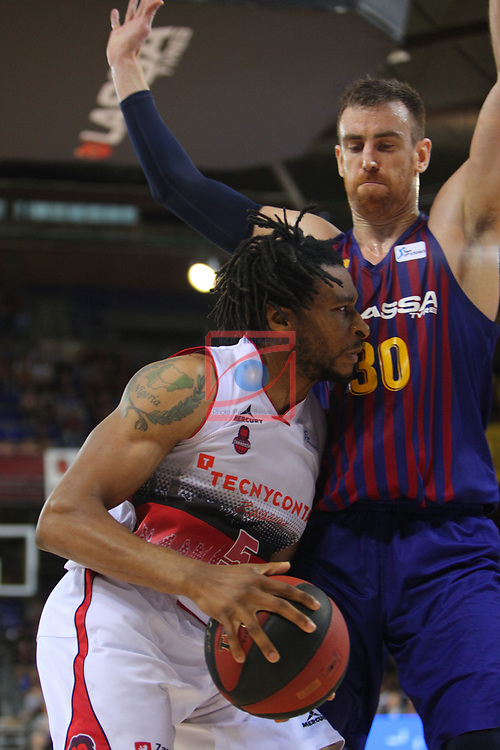 League ACB-ENDESA 201/2019.Game 38.<br /> PlayOff Semifinals.1st match.<br /> FC Barcelona Lassa vs Tecnyconta Zaragoza: 101-59.<br /> Stan Okoye vs Victor Claver.