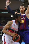 League ACB-ENDESA 201/2019.Game 38.<br /> PlayOff Semifinals.1st match.<br /> FC Barcelona Lassa vs Tecnyconta Zaragoza: 101-59.<br /> Stan Okoye vs Victor Claver.