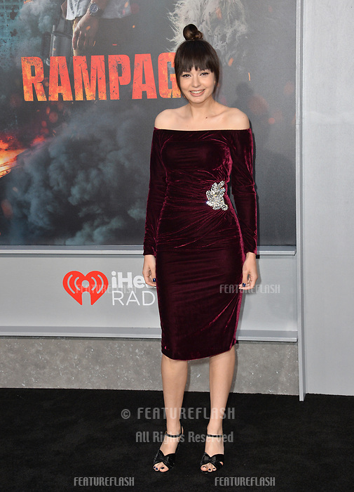 Ingrid Bisu at the premiere for &quot;Rampage&quot; at the Microsoft Theatre, Los Angeles, USA 04 April 2018<br /> Picture: Paul Smith/Featureflash/SilverHub 0208 004 5359 sales@silverhubmedia.com