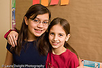 Elementary school Grade 5 closeup portrait of two girls friends horizontal