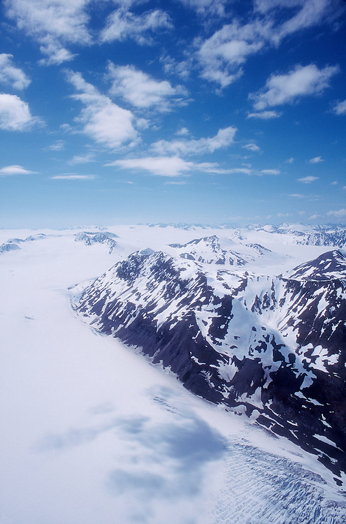 Alaska, Harding Ice Field, Kenai Fjord National Park, Kenai mountains.Kenai Peninsula, North America, U.S.A; aerial, largest ice field in USA,.