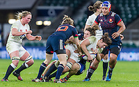 Sarah Hunter tackled, England Women v France Women in a 6 Nations match at Twickenham Stadium, London, England, on 4th February 2017 Final Score 26-13.