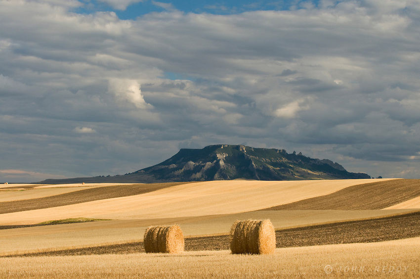 Square Butte and hay bales
