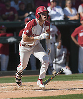 NWA Democrat-Gazette/J.T. WAMPLER Arkansas' Matt Goodheart gets a hit against Ole Miss Monday June 10, 2019 during the NCAA Fayetteville Super Regional at Baum-Walker Stadium in Fayetteville. Arkansas won 14-1 and will advance to the College World Series in Omaha.