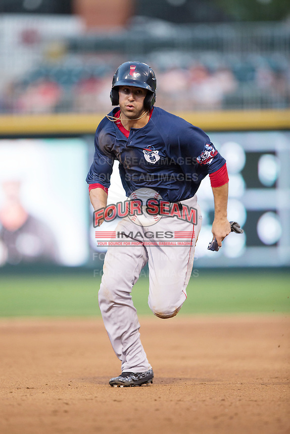 Deven Marrero (16) of the Pawtucket Red Sox hustles towards third base against the Charlotte Knights at BB&T BallPark on July 6, 2016 in Charlotte, North Carolina.  The Knights defeated the Red Sox 8-6.  (Brian Westerholt/Four Seam Images)