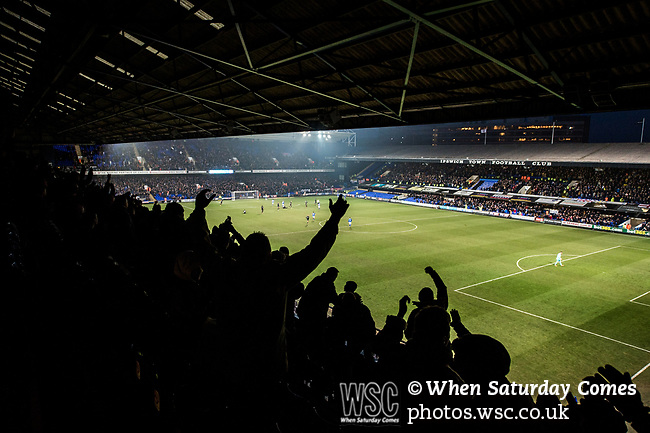 Ipswich Town 1 Leeds United 0, 13/01/2018. Portman Road, Championship. Ipswich supporters celebrate the only goal of the game. Photo by Simon Gill.