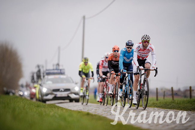 Jimmy Janssens (BEL/Corendon - Circus) leading the breakaway group over the cobbbles<br /> <br /> 43rd Driedaagse Brugge-De Panne 2019 <br /> One day race (1.UWT) from Brugge to De Panne BEL (200km)<br /> <br /> ©kramon
