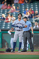 Joshua Rojas (5) of the Round Rock Express during the game against the Salt Lake Bees at Smith's Ballpark on June 10, 2019 in Salt Lake City, Utah. The Bees defeated the Express 9-7. (Stephen Smith/Four Seam Images)