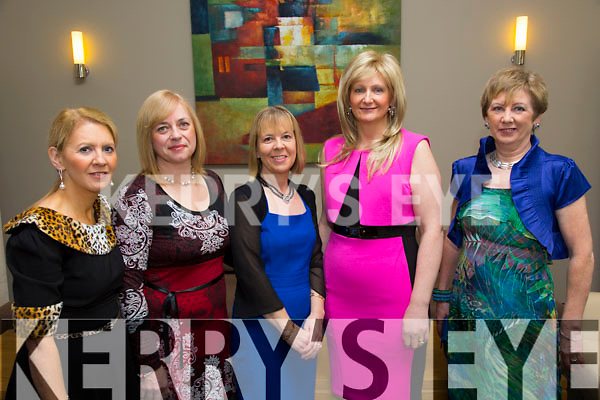 Sandra Kearney, Eleanor Foley, Marie Hill, Colette O'Halloran, Philomena McCarthy enjoying the Ladies Lunch fashion show in Support of the Kerry Cancer support Group at the Ballyroe  Heights Hotel on Sunday