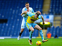 Rotherham United's Michael Smith holds off the challenge from Blackburn Rovers' Jack Rodwell<br /> <br /> Photographer Alex Dodd/CameraSport<br /> <br /> The EFL Sky Bet Championship - Blackburn Rovers v Rotherham United - Saturday 10th November 2018 - Ewood Park - Blackburn<br /> <br /> World Copyright &copy; 2018 CameraSport. All rights reserved. 43 Linden Ave. Countesthorpe. Leicester. England. LE8 5PG - Tel: +44 (0) 116 277 4147 - admin@camerasport.com - www.camerasport.com