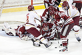 Johnny Gaudreau (BC - 13), Kevin Boyle (UMass - 33), Eddie Olczyk (UMass - 16), Emerson Auvenshine (UMass - 19), Troy Power (UMass - 20), Brian Dumoulin (BC - 2) - The Boston College Eagles defeated the University of Massachusetts-Amherst Minutemen 3-2 to take their Hockey East Quarterfinal matchup in two games on Saturday, March 10, 2012, at Kelley Rink in Conte Forum in Chestnut Hill, Massachusetts.