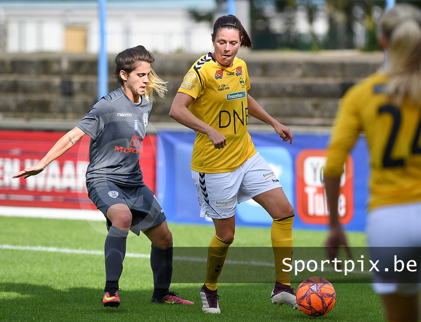 20190813 - DENDERLEEUW, BELGIUM : PAOK's Eirini Nefrou (left) pictured defending on LSK's Isabelle Bachor (r) during the female soccer game between the Greek PAOK Thessaloniki Ladies FC and the Norwegian LSK Kvinner Fotballklubb Ladies , the third and final game for both teams in the Uefa Womens Champions League Qualifying round in group 8 , Tuesday 13 th August 2019 at the Van Roy Stadium in Denderleeuw  , Belgium  .  PHOTO SPORTPIX.BE for NTB | DAVID CATRY