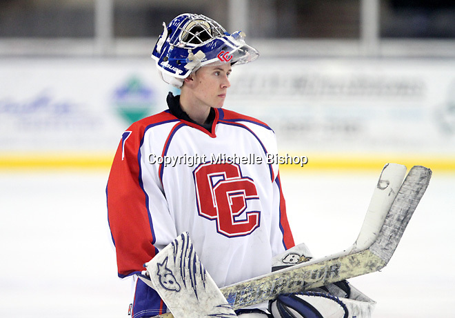 Cherry Creek goalie Brady Mielnicki. Cherry Creek (Colorado) beat Medina (Ohio) 5-1 on the third day of pool play during the 2014 High School Hockey National Championship in Omaha on March 28. (Photo by Michelle Bishop)