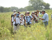 NWA Democrat-Gazette/FLIP PUTTHOFF <br /> PRAIRIE TOUR<br /> Joe Woolbright (right), caretaker at Chesney Prairie Natural Area near Siloam Springs, talks Saturday July 6 2019 about plants on the 83-acre prairie during a Northwest Arkansas Audubon Society field trip. An array of wildflowers and birds were seen during a walk through the tract. Chesney Prairie Natural Area is one of the few tallgrass prairie remnants left on the Arkansas portion of the Springfield plateau. Some 300 plant species are found on the prairie.
