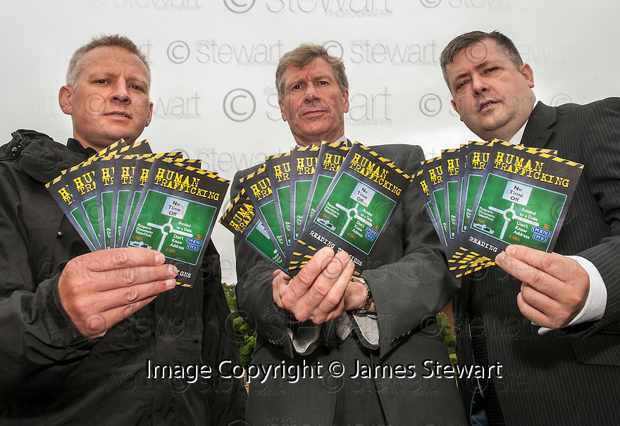 Assistant Chief Constable Malcolm Graham, Head of Major Crime and Public Protection for Police Scotland, Justice Secretary, Mr Kenny MacAskill and Lord Advocate, Mr Frank Mulholland, launch the new Human Trafficking Leaflet.