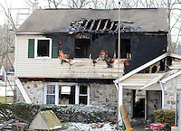 House Fire Aftermath in Solebury, Pennsylvania