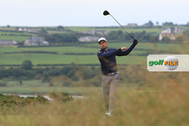 Keith Egan (Carton House) on the 18th tee during Round 2 of the North of Ireland Amateur Open Championship 2019 at Portstewart Golf Club, Portstewart, Co. Antrim on Tuesday 9th July 2019.<br /> Picture:  Thos Caffrey / Golffile<br /> <br /> All photos usage must carry mandatory copyright credit (© Golffile   Thos Caffrey)