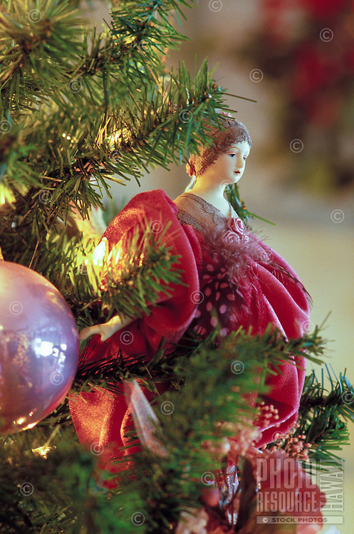 Christmas ornaments, a close-up view, on a Christmas tree in Hawaii