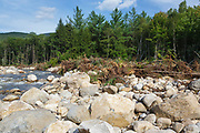 Aftermath of flash flood along the East Branch of the Pemigewasset River in Lincoln, New Hampshire from Tropical Storm Irene in 2011. This tropical storm / hurricane caused destruction along the East coast of the United States and the White Mountain National Forest of New Hampshire was officially closed during the storm.