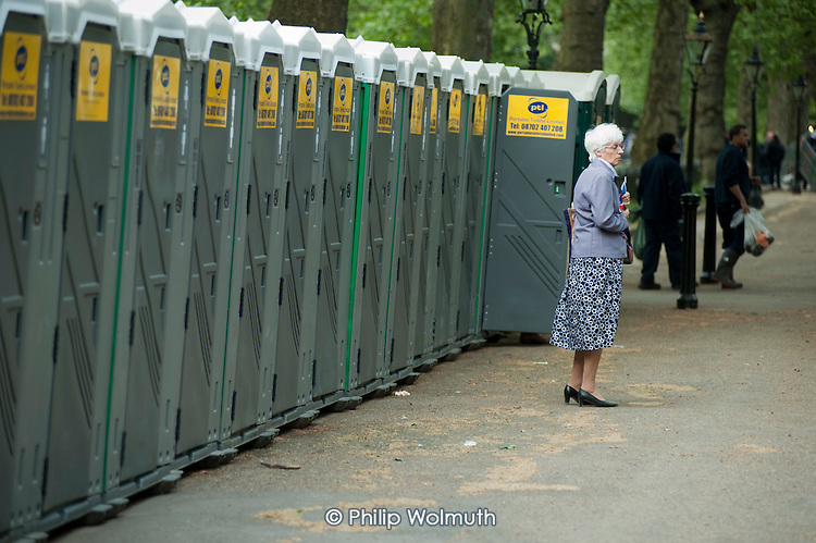 Temporary toilets in the Mall on the eve of the Royal Wedding.