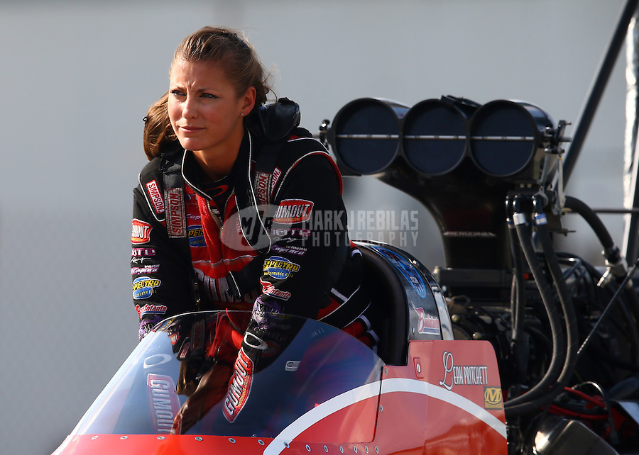 Aug 31, 2014; Clermont, IN, USA; NHRA top fuel dragster driver Leah Pritchett on the return road during qualifying for the US Nationals at Lucas Oil Raceway. Mandatory Credit: Mark J. Rebilas-USA TODAY Sports