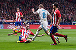 Atletico de Madrid Diego Godin and Real Madrid Toni Kroos during La Liga match between Atletico de Madrid and Real Madrid at Wanda Metropolitano in Madrid, Spain. November 18, 2017. (ALTERPHOTOS/Borja B.Hojas)