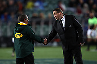 All Blacks coach Steve Hansen shakes hands with Springboks coach Allister Coetzee before the Rugby Championship match between the New Zealand All Blacks and South Africa Springboks at QBE Stadium in Albany, Auckland, New Zealand on Saturday, 16 September 2017. Photo: Shane Wenzlick / lintottphoto.co.nz