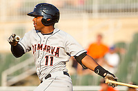 Mychal Givens #11 of the Delmarva Shorebirds follows through on his swing against the Kannapolis Intimidators at Fieldcrest Cannon Stadium on May 22, 2011 in Kannapolis, North Carolina.   Photo by Brian Westerholt / Four Seam Images