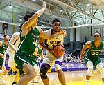 University at Albany men's basketball defeats Binghamton University 71-54  at the  SEFCU Arena, Feb. 27, 2018.  Alex Foster (#34) in the paint.  Defended by John Schurman (#30). (Bruce Dudek / Cal Sport Media/Eclipse Sportswire)