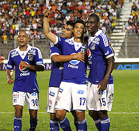 IBAGUE- COLOMBIA- 26  -05- 2013: Fredy Montero  jugador de Millonarios  celebra su gol  contra  Tolima   partido  jugado en el estadio Manuel Murillo Toro de la ciudad de Ibagué, mayo 26  de 2013. juego por la  fecha Diez  y siete   de la Liga Postobon I. (Foto: VizzorImage / Felipe Caicedo / Staff). Fredy Montero  Millonarios player celebrates his goal against Tolima match played at the Manuel Murillo Toro stadium in Ibague, May 26, 2013. game date of Seventeen League Europa League I.. (Foto: VizzorImage / Felipe Caicedo / Staff).