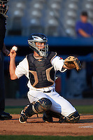 Connecticut Tigers catcher Shane Zeile (59) during the first game of a doubleheader against the Brooklyn Cyclones on September 2, 2015 at Senator Thomas J. Dodd Memorial Stadium in Norwich, Connecticut.  Brooklyn defeated Connecticut 7-1.  (Mike Janes/Four Seam Images)
