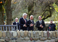 Pictured: Prince Charles joined by First Minister for Wales Carwyn Jones (L) at the Memorial Garden Friday 21 October 2016<br />