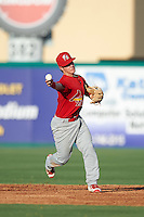 Palm Beach Cardinals second baseman Dylan Tice (8) throws to first during a game against the Jupiter Hammerheads on August 13, 2016 at Roger Dean Stadium in Jupiter, Florida.  Jupiter defeated Palm Beach 6-2.  (Mike Janes/Four Seam Images)