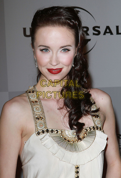 ELYSE LEVESQUE.NBC Universal 68th Annual Golden Globe Awards After Party held at the Beverly Hilton, Beverly Hills, California, USA..January 16th, 2011.half length white cream gold beads beaded red lipstick make-up beauty .CAP/ADM/KB.©Kevan Brooks/AdMedia/Capital Pictures.